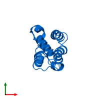 PDB 2dvv contains 1 copy of Bromodomain-containing protein 2 in assembly 1. This protein is highlighted and viewed from the top.