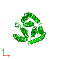 Trimeric assembly 1 of PDB entry 2e2a coloured by chemically distinct molecules and viewed from the top.