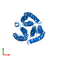 PDB 2e2a contains 3 copies of PTS system lactose-specific EIIA component in assembly 1. This protein is highlighted and viewed from the top.