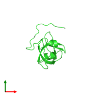 PDB 2eqs coloured by chain and viewed from the top.