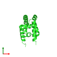 PDB 2fbi coloured by chain and viewed from the top.