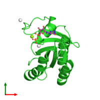 PDB 2fol coloured by chain and viewed from the top.