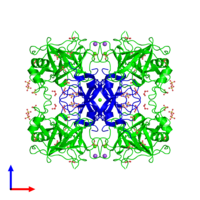 Octameric assembly 2 of PDB entry 2ftm coloured by chemically distinct molecules and viewed from the front.