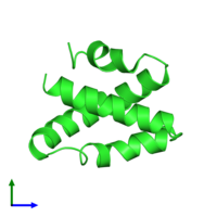PDB 2gtg coloured by chain and viewed from the front.