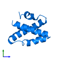 PDB 2gtg contains 1 copy of Saposin-C in assembly 1. This protein is highlighted and viewed from the front.