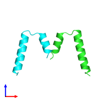 PDB 2gyp coloured by chain and viewed from the front.