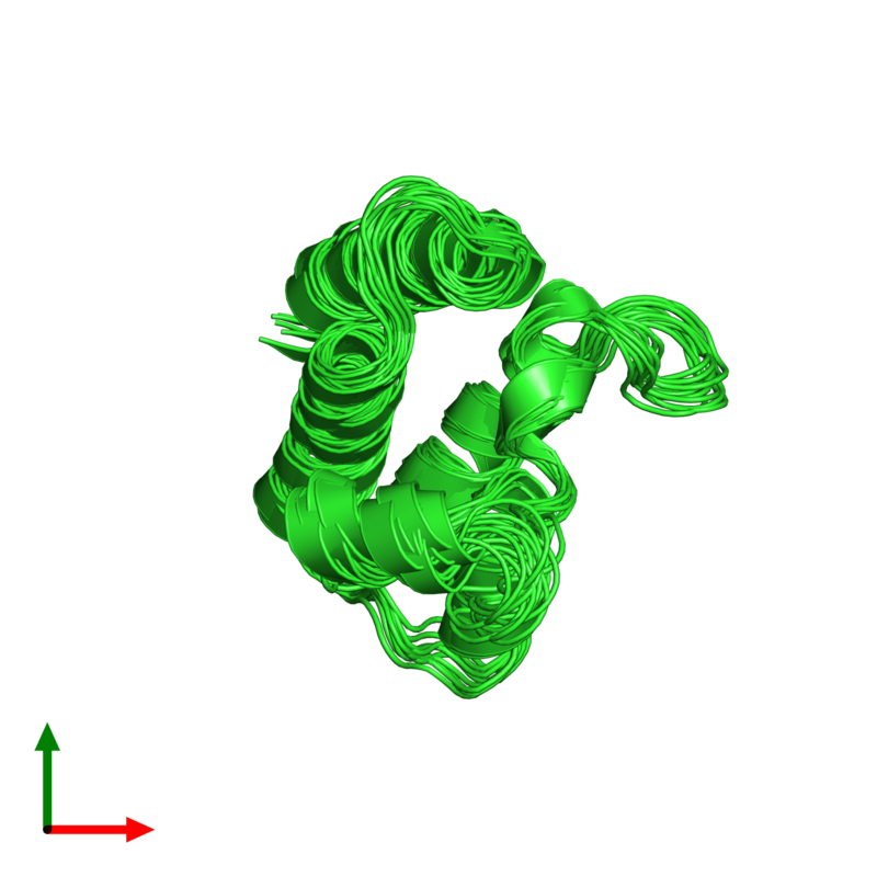<div class='caption-body'><ul class ='image_legend_ul'>The deposited structure of PDB entry 2h60 coloured by chain and viewed from the top. The entry contains: <li class ='image_legend_li'>1 copy of Transcription activator BRG1</li><li class ='image_legend_li'>There are no non-polymeric molecules</li></ul></li></ul></li></div>