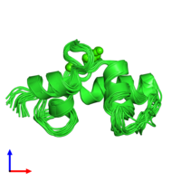 PDB 2hf5 coloured by chain and viewed from the side.