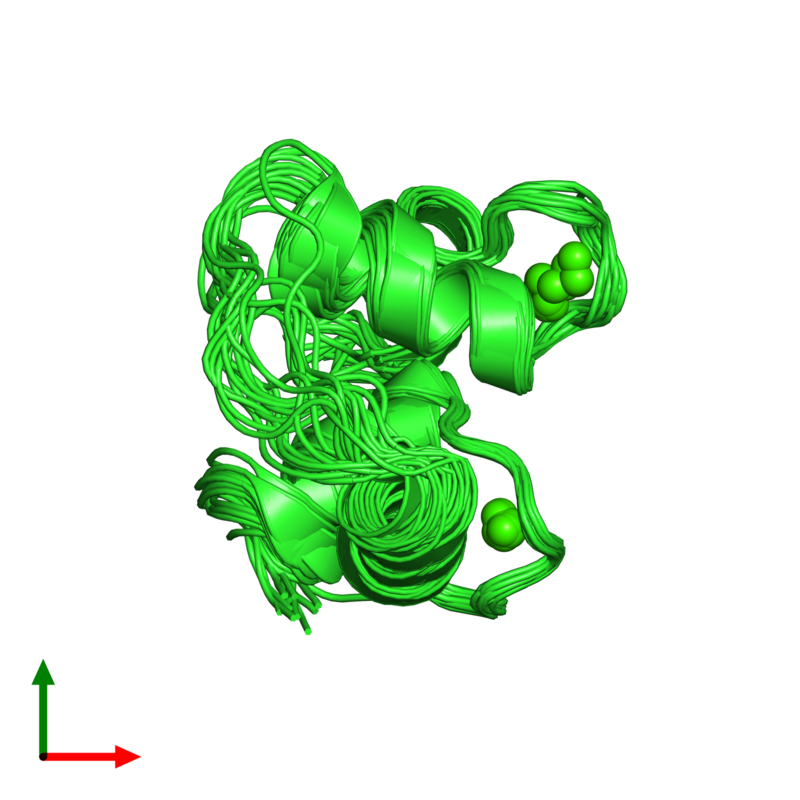 <div class='caption-body'><ul class ='image_legend_ul'>The deposited structure of PDB entry 2hf5 coloured by chain and viewed from the top. The entry contains: <li class ='image_legend_li'>1 copy of Calmodulin-1</li><li class ='image_legend_li'>There is 1 non-polymeric molecule<ul class ='image_legend_ul'><li class ='image_legend_li'>2 copies of CALCIUM ION</li></ul></li></div>