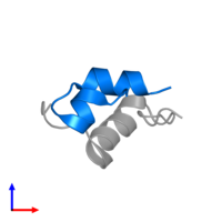 PDB 2hh4 contains 1 copy of Insulin A chain in assembly 1. This protein is highlighted and viewed from the side.