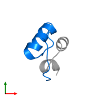 PDB 2hh4 contains 1 copy of Insulin B chain in assembly 1. This protein is highlighted and viewed from the top.