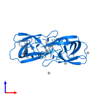 PDB 2hs1 contains 2 copies of Protease in assembly 1. This protein is highlighted and viewed from the side.