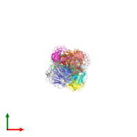 PDB 2hu0 coloured by chain and viewed from the top.