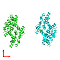 PDB 2hyw coloured by chain and viewed from the front.