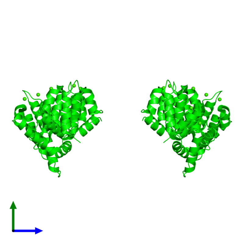 <div class='caption-body'><ul class ='image_legend_ul'>The deposited structure of PDB entry 2hyw coloured by chemically distinct molecules and viewed from the side. The entry contains: <li class ='image_legend_li'>2 copies of Annexin A2</li><li class ='image_legend_li'>There is 1 non-polymeric molecule<ul class ='image_legend_ul'><li class ='image_legend_li'>14 copies of CALCIUM ION</li></ul></li></div>