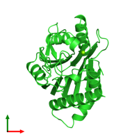 PDB 2iq1 coloured by chain and viewed from the top.