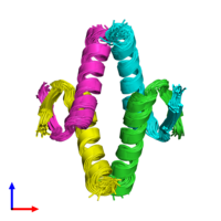 PDB 2j0z coloured by chain and viewed from the front.