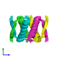 PDB 2j0z coloured by chain and viewed from the side.