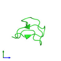 PDB 2jtb coloured by chain and viewed from the side.