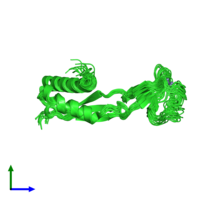 PDB 2kdx coloured by chain and viewed from the side.