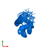 PDB 2knj contains 1 copy of Antimicrobial peptide microplusin in assembly 1. This protein is highlighted and viewed from the top.
