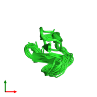 PDB 2knp coloured by chain and viewed from the top.