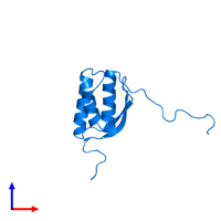 PDB 2kpq contains 1 copy of Uncharacterized protein in assembly 1. This protein is highlighted and viewed from the front.