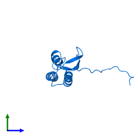 PDB 2kpq contains 1 copy of Uncharacterized protein in assembly 1. This protein is highlighted and viewed from the side.