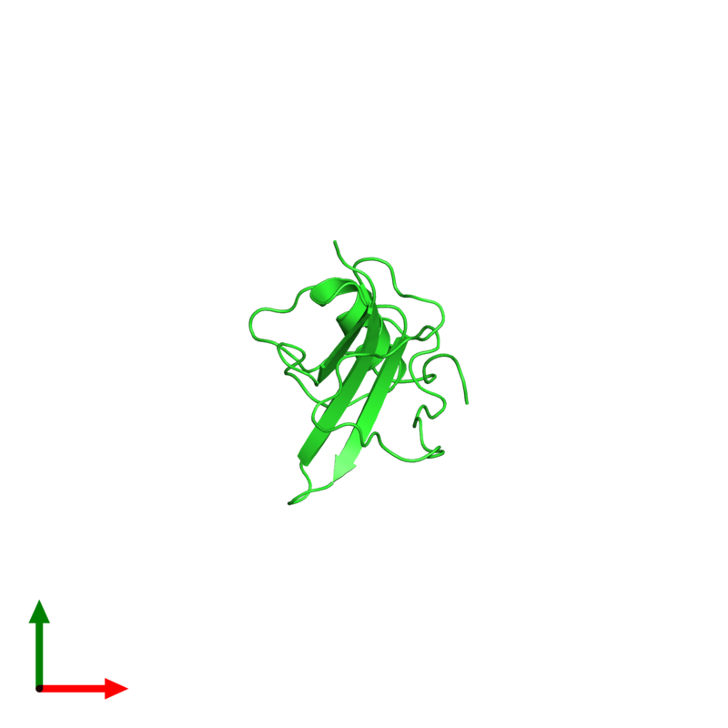 <div class='caption-body'><ul class ='image_legend_ul'> Monomeric assembly 1 of PDB entry 2kpy coloured by chain and viewed from the top. This assembly contains:<li class ='image_legend_li'>One copy of Major pollen allergen Art v 1</li></ul></div>