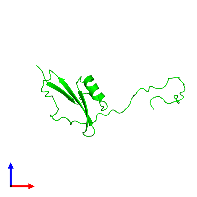 <div class='caption-body'><ul class ='image_legend_ul'> Monomeric assembly 1 of PDB entry 2kpy coloured by chemically distinct molecules and viewed from the front. This assembly contains:<li class ='image_legend_li'>One copy of Major pollen allergen Art v 1</li></ul></div>