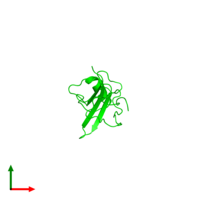 Monomeric assembly 1 of PDB entry 2kpy coloured by chemically distinct molecules and viewed from the top.