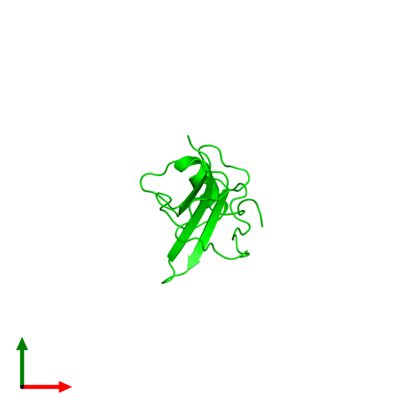 <div class='caption-body'><ul class ='image_legend_ul'> Monomeric assembly 1 of PDB entry 2kpy coloured by chemically distinct molecules and viewed from the top. This assembly contains:<li class ='image_legend_li'>One copy of Major pollen allergen Art v 1</li></ul></div>