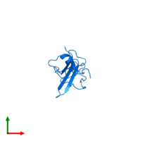 PDB 2kpy contains 1 copy of Major pollen allergen Art v 1 in assembly 1. This protein is highlighted and viewed from the top.