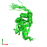 PDB 2kxl coloured by chain and viewed from the top.
