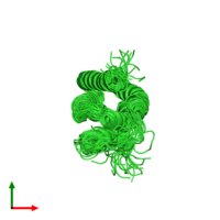 PDB 2l10 coloured by chain and viewed from the top.