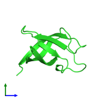 PDB 2l15 coloured by chain and viewed from the side.
