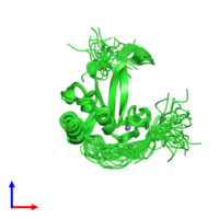 PDB 2l30 coloured by chain and viewed from the front.