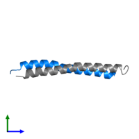 PDB 2l5g contains 1 copy of G protein pathway suppressor 2 in assembly 1. This protein is highlighted and viewed from the side.