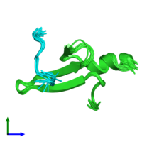PDB 2laj coloured by chain and viewed from the front.