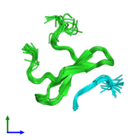 PDB 2lb3 coloured by chain and viewed from the front.
