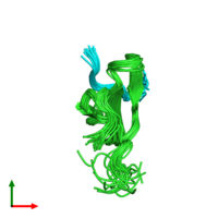 PDB 2lb3 coloured by chain and viewed from the top.