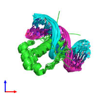 PDB 2lkx coloured by chain and viewed from the front.