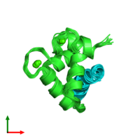 PDB 2llq coloured by chain and viewed from the top.
