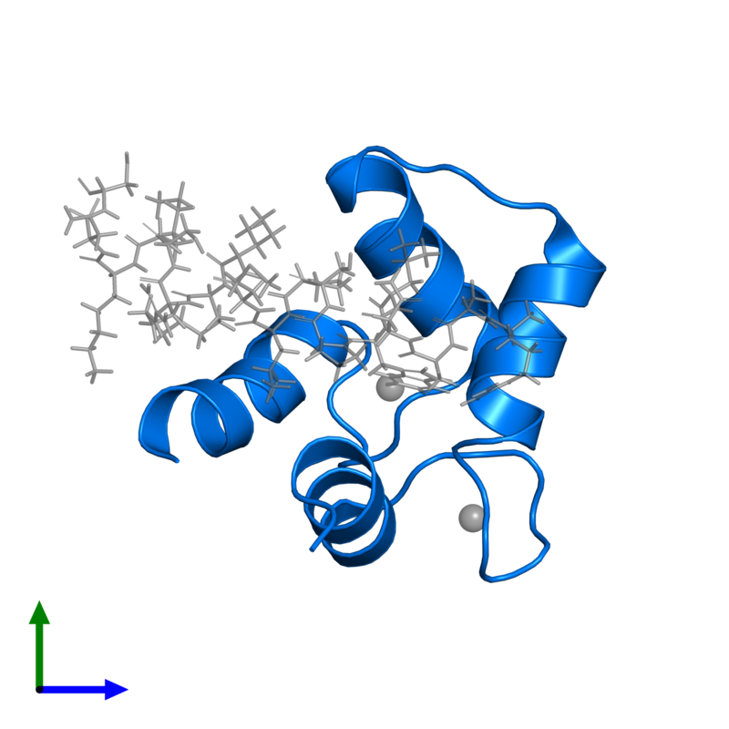 <div class='caption-body'>PDB entry 2llq contains 1 copy of Calmodulin-1 in assembly 1. This protein is highlighted and viewed from the front.</div>