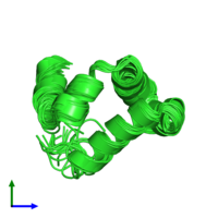 PDB 2lnm coloured by chain and viewed from the side.