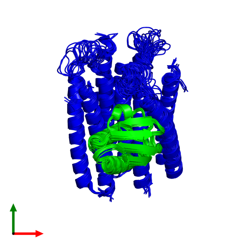 <div class='caption-body'><ul class ='image_legend_ul'>The deposited structure of PDB entry 2lrk coloured by chemically distinct molecules and viewed from the top. The entry contains: <li class ='image_legend_li'>1 copy of Phosphocarrier protein HPr</li><li class ='image_legend_li'>3 copies of N,N'-diacetylchitobiose-specific phosphotransferase enzyme IIA component</li><li class ='image_legend_li'>There are no non-polymeric molecules</li></ul></li></ul></li></div>