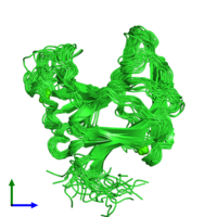 PDB 2lrp coloured by chain and viewed from the front.