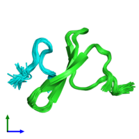 PDB 2ltv coloured by chain and viewed from the front.