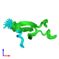 PDB 2ltv coloured by chain and viewed from the side.