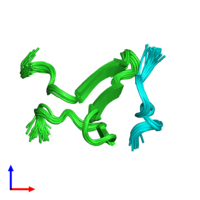 PDB 2ltw coloured by chain and viewed from the side.